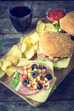 Served pub food Royalty Free Stock Images