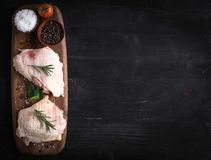 Raw chicken meat. Served raw chicken meat on the table with blank space Royalty Free Stock Photography