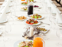 Served restaurant table Royalty Free Stock Images
