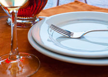 Served restaurant table. Close view of served restaurant table. Shallow DOF effect Stock Photo