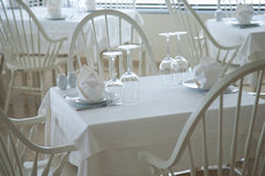 Served restaurant tables Royalty Free Stock Photo