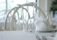 Served restaurant tables Stock Photo