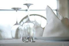 Served restaurant tables Stock Photography