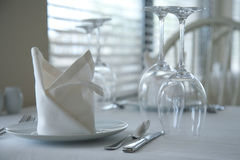 Served restaurant tables Royalty Free Stock Images
