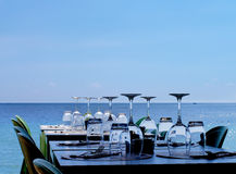 Served Restaurant Tables on Sea Coast Stock Photo