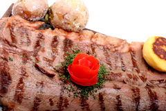 Served roasted beef meat steak Royalty Free Stock Image