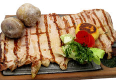 Served roasted beef meat steak Royalty Free Stock Photos