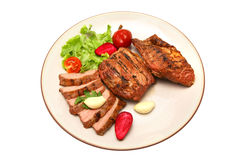 Served roasted beef meat steak Royalty Free Stock Photo