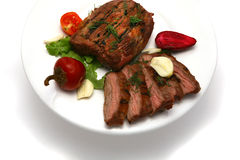 Served roasted meat steak Royalty Free Stock Images