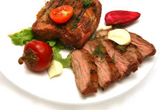 Served roasted meat steak Stock Images