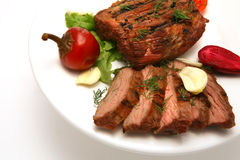 Served roasted meat steak Royalty Free Stock Photos
