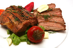 Served roasted meat steak Royalty Free Stock Photography