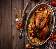 Served roasted stuffed Thanksgiving Turkey. Top view.Space for text. stock photos