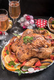 Served roasted turkey Royalty Free Stock Photography