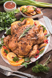 Served roasted turkey Royalty Free Stock Photo