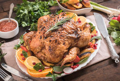 Served roasted turkey Royalty Free Stock Images