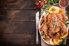 Served roasted turkey with vegetables Royalty Free Stock Photo