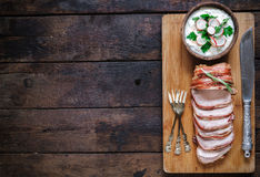 Served rolled meat and potatoes Royalty Free Stock Photo