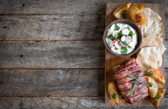 Served rolled meat and potatoes Royalty Free Stock Image