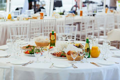 Served Round Table for Outdoor Event Royalty Free Stock Image