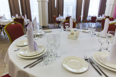 Served round table in restaurant Royalty Free Stock Image