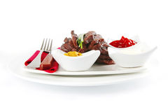 Served sectioned beef meat Royalty Free Stock Image