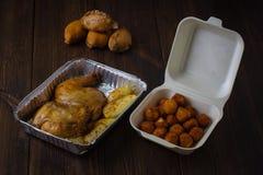 Served split roasted stuffed small turkey. Royalty Free Stock Photo
