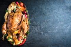 Served split roasted stuffed turkey Stock Photos