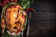 Served split roasted turkey Stock Photos