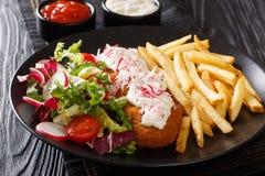 Served stekte lyrtorsken, i att panera med franska sm?fiskar och ny salladn?rbild p? en platta och s?ser horisontal royaltyfri bild