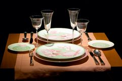 The served table. Whit glass Royalty Free Stock Photo