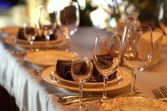 Served table. Serving of table in a restaurant from glasses stock images