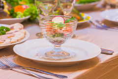 Served table for banquet food meal dish plate Royalty Free Stock Image