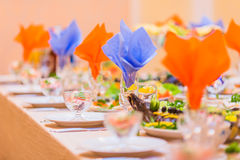 Served table for banquet meal dish plate Stock Photo