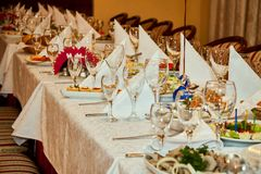Served table at the banquet Stock Image
