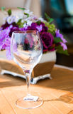 Served table with bouquet Royalty Free Stock Image