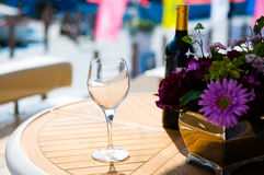 Served table with bouquet Stock Image
