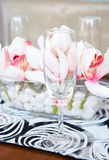 Served table with bouquet Royalty Free Stock Photo