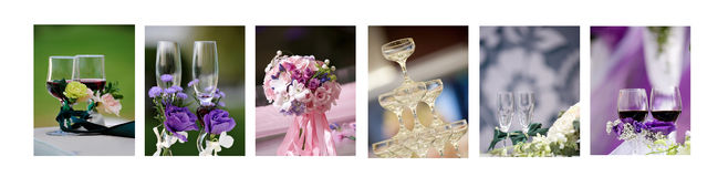 Served table with bouquet Stock Images