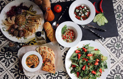 Served table with different dishes Royalty Free Stock Photo