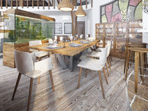 Served table for eight in the dining room in the loft with high. Ceilings. Dining room with a large aquarium on a high pedestal. 3D render Stock Image