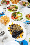 Served table with food Stock Image