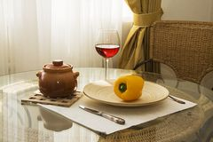 Served table with glass of wine Stock Images