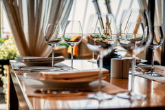 Served table with glasses Royalty Free Stock Photography