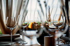 Served table with glasses Stock Photo