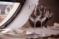Served  table with glasses Stock Image