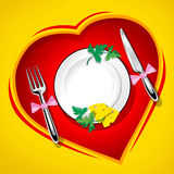 Served table on the heart. Love  illustration rasterised Royalty Free Stock Photography
