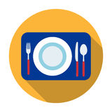 Served table icon in flat style isolated on white background. Rest and travel symbol stock vector illustration. Stock Image