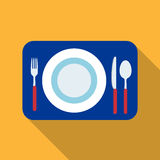 Served table icon in flat style isolated on white background. Rest and travel symbol stock vector illustration. Served table icon in flat design isolated on Royalty Free Stock Image