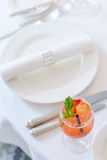 Served table in a luxury restaurant Stock Images
